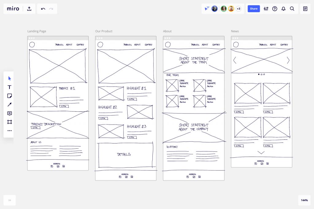 Esempi di Wireframe Low Fidelity per la User Experience Design
